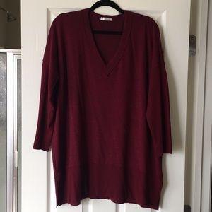 V-Neck Drop-Shoulder Sweater